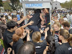 Phone booth stuffing at St. Mary's (Karl Mondon/Contra Costa Times) | by Contra Costa Times