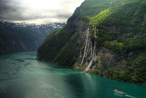 "Geiranger -  the ""seven sisters"" waterfall 
