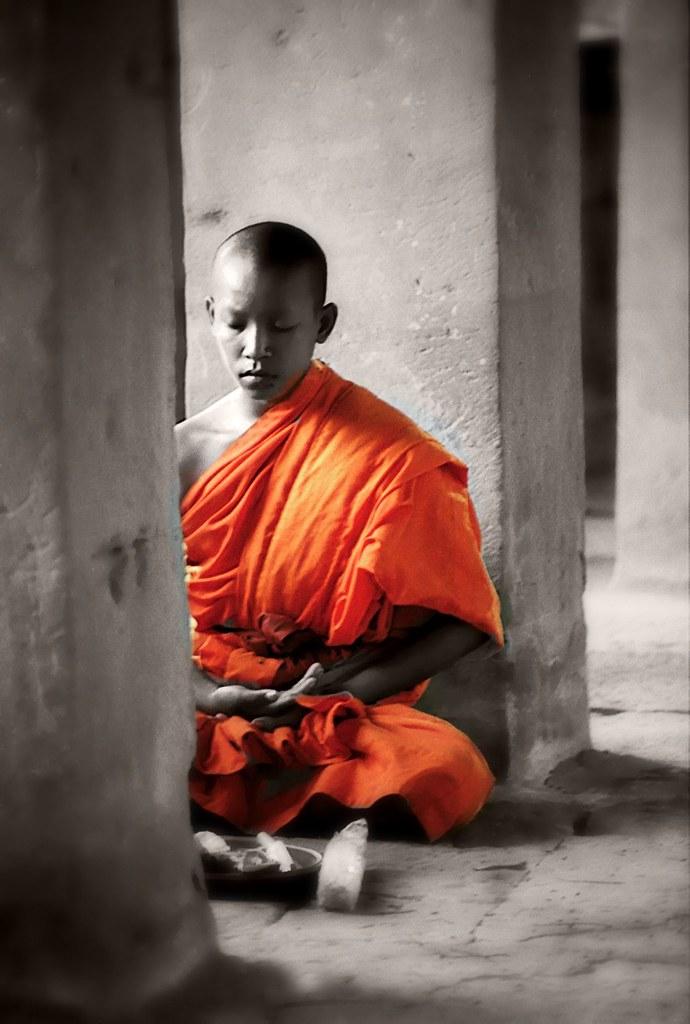 Meditating Monk At Angkor Wat