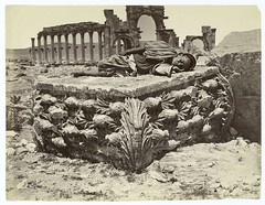 Fallen capital from Temple of Palmyra, Syria. | by New York Public Library