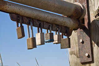 Multiple Padlock Farm Gate Mechanism - multi-lock-gate-at-islay-creek-road-montana-de-oro | by mikebaird
