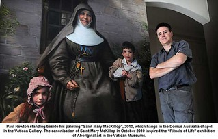 "Paul Newton standing beside his painting ""Saint Mary MacKillop"", 2010 
