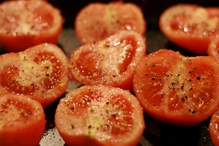 roasting tomatoes with basil | by missy & the universe