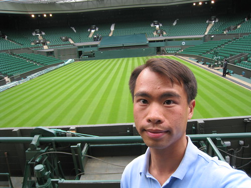 JC at front row of Wimbledon Centre Court | by Tennis-Bargains.com