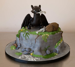 Isa's Toothless / Night Fury Cake | by Rouvelee's Creations