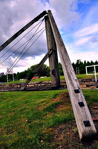 Old wooden swing bridge cradle flickr photo sharing for Wooden swing set with bridge