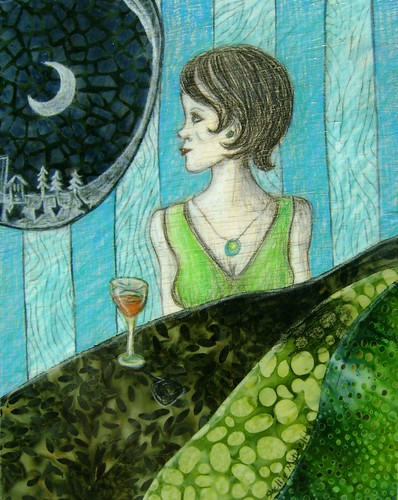 One More Glass of Wine - original fabric and colored pencil on wood | by shellieartist