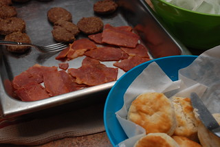 day begins with biscuits and ham and sausage (the ham is never sweet) | by kthread