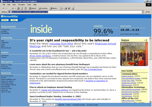 Herman miller intranet inside homepage significantly for Intranet interior
