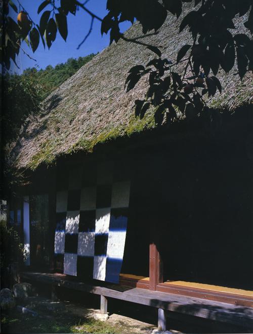Checkerboard textile of indigo-dyed hemp by Hiroyuki Shindo