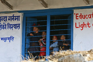 Students at look out the window of Shreeshitalacom Lower Secondary School | by World Bank Photo Collection