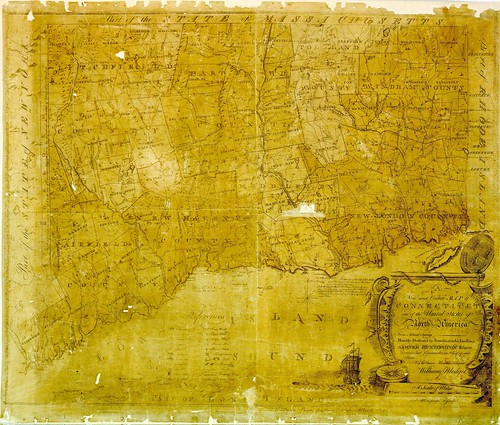 A new and correct map of Connecticut : one of the United States of North America from actual survey, humbly dedicated by permission to his excellency Samuel Huntington esquire Governor | by uconnlibrariesmagic