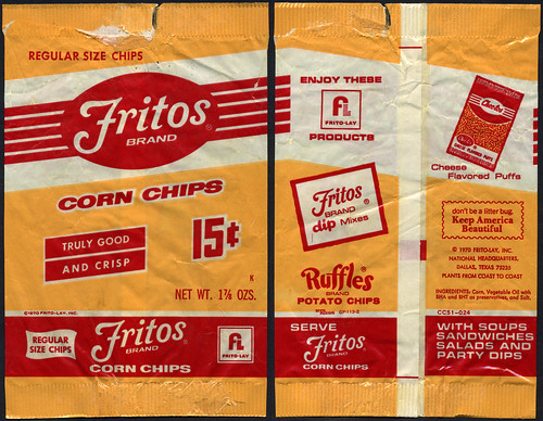 Frito-Lay - Fritos Brand Corn Chips 15-cent bag - 1970's | by JasonLiebig