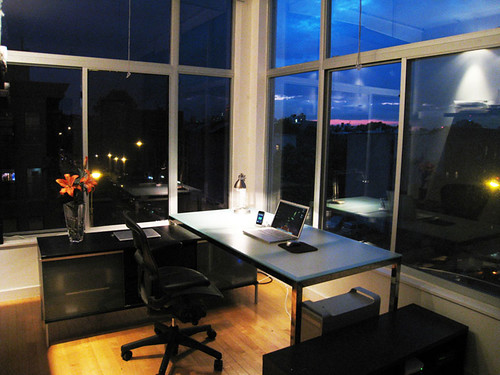 Brooklyn Home Office, Minimized, At Night | by mkosut