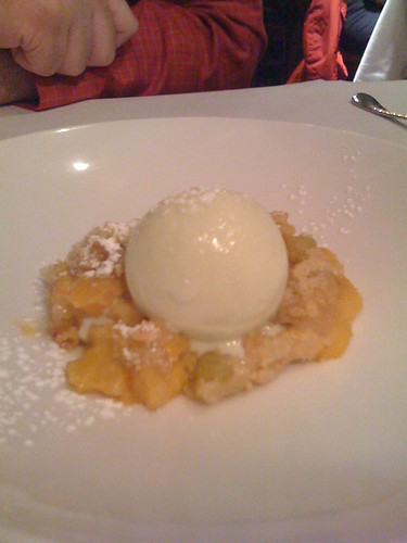 peach rhubarb crisp with rum soaked golden raisins and taragon ice ...