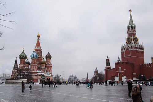 Saint Basil's Cathedral and the Spasskaya Tower on Red Square