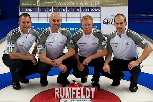 Team Rumfeldt — Guelph Curling Club, Guelph, Ont.Rob Rumfeldt, Adam Spencer, Scott Howard, Scott Hodgson, Greg Robinson (alternate), Brad Sheridan (coach) | by seasonofchampions