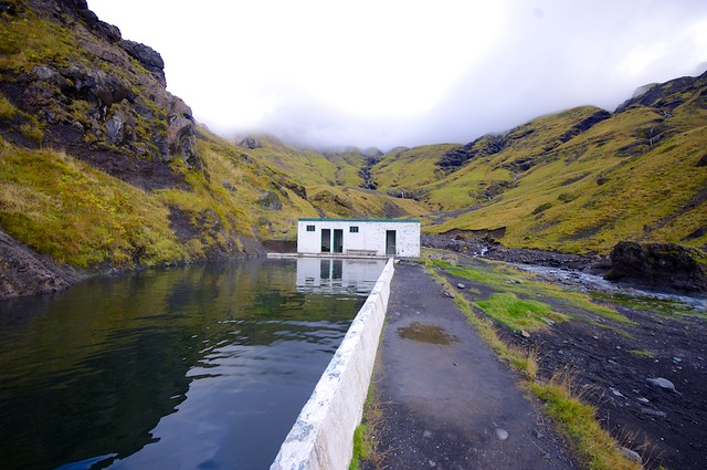 Seljavallalaug Swimming Pool in an Icelandic Valley