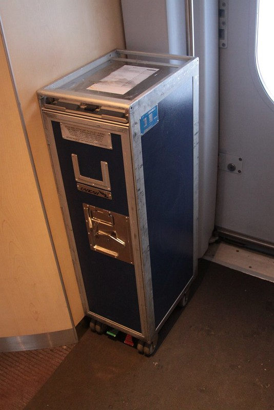 Aircraft food trolleys in use aboard the Russian Sapsan train