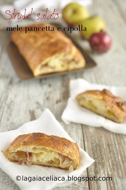 Strudel salato con mele, cipolle e pancetta
