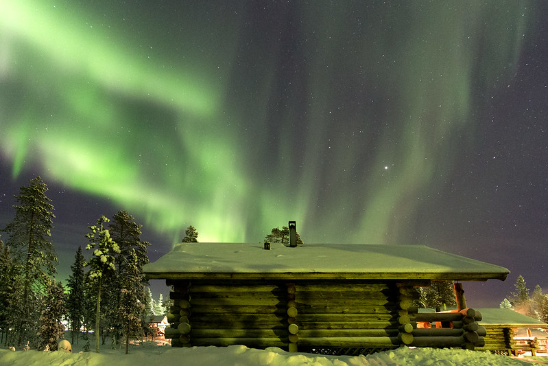 Northern lights above a cottage II