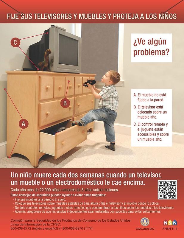 Fije sus televisores y muebles y proteja los niños