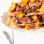 Pancake Cake with Chocolate Cream and Tangerines