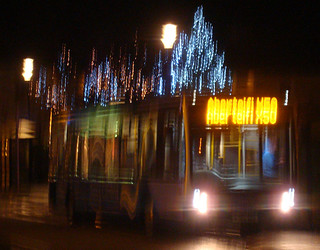 TrawsCambria bus at Aberaeron with Christmas lights in the background