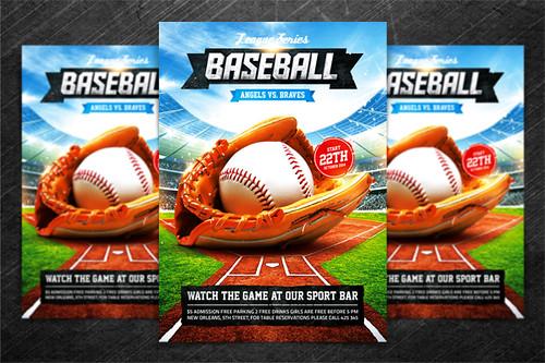 baseball league series flyer psd template baseball leagu flickr. Black Bedroom Furniture Sets. Home Design Ideas