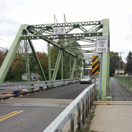 Bridge over the Erie canal going into the village of Lyons ...