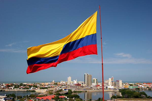 colombianflagflyingcityskyline