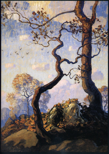 "'Rip Van Winkle' by N.C. Wyeth - ""On waking he found himself on the green knoll whence he had first seen the old man of the glen"" 