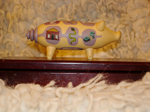 a painted wooden pig | by Klaberjass