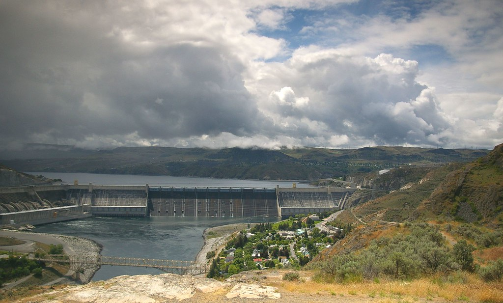 Grand Coulee Dam and clouds