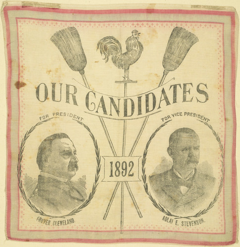"Cleveland-Stevenson ""Our Candidates 1892"" Portrait Textile 
