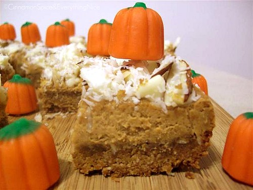 Pumpkin Cheesecake Bars | by CinnamonKitchn