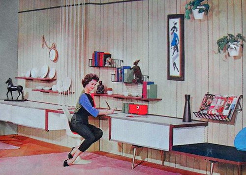 1950s desk den rec room vintage interior design photo flickr