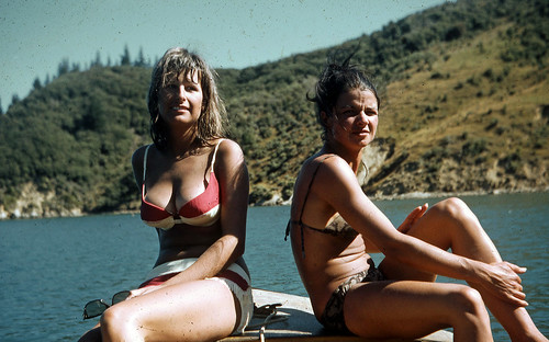 Pauline and Georgie, Bay of Many Coves, Marlborough, New Zealand, 1970 | by PhillipC