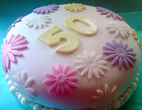 Pastel Flower Covered 50th Birthday Cake Flickr Photo