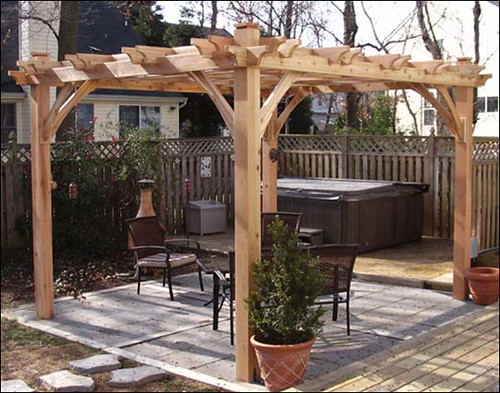 backyard oasis with wood stove and hot tub gazebo creations flickr