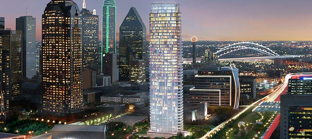 Museum Tower rendering seen with the Downtown Dallas Financial District to its left, Woodall Rodgers Urban Park rendering to its right, and the completed and illuminated Margaret McDermott Bridge rendering behind it and to the right, June 2010.