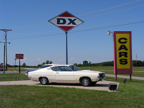 Classic 1969 Ford and DX Gas Sign