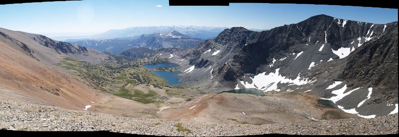 Stitched panorama shot of the Alger Lakes and Blacktop Peak as I neared the summit of Koip Peak