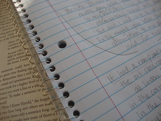 Circled words, arrows, spiral notebook | by juliejordanscott