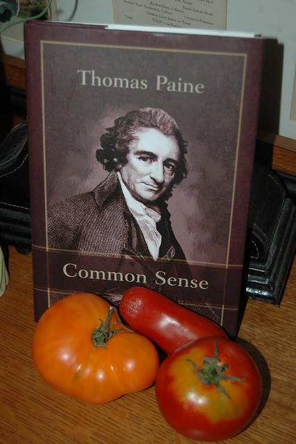 Thomas Paine's Common Sense and a tomato weiner.