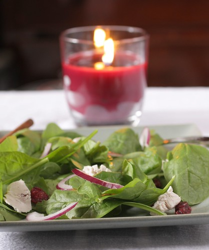 cranberry and goat cheese spinach salad | by Madison Bistro