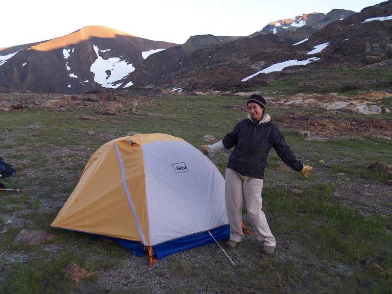Our tent at Parker Pass with the sunset lighting up Parker Peak