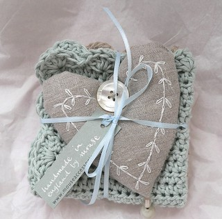 Linen heart and crochet facecloths | by Sue McLoughlin
