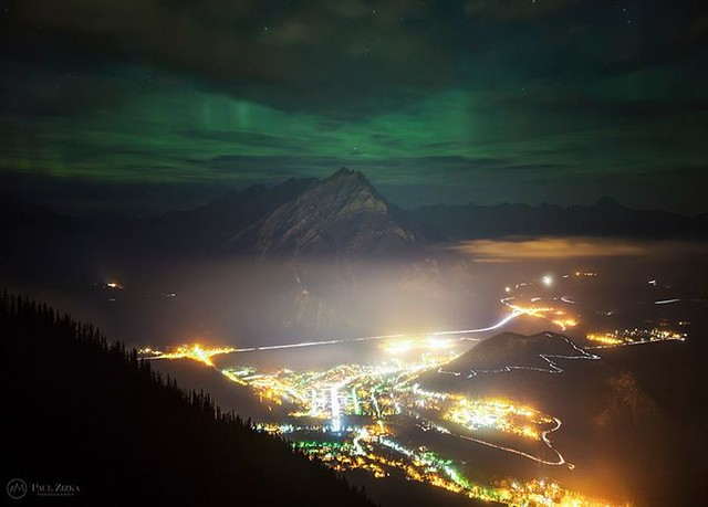 Aurora Borealis Over Banff. Last night I was able to capture a scene I'd had in mind for quite some time. Thanks to fellow photographers and friends Jack Nichols Photography and Stan Novotny Wildlife & Landscape Photography for a great night out in the mo