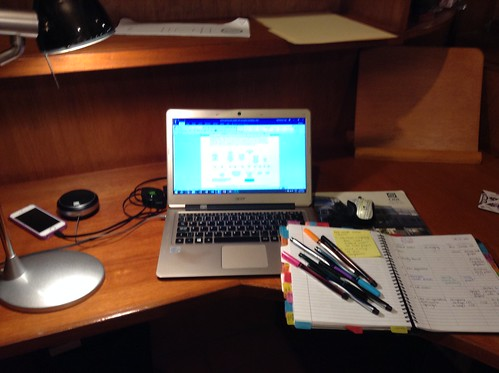 AcWri at night at my Mom's place (my home office)